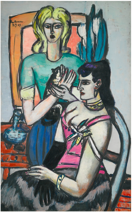 Sotheby's, Lot 22. MAX BECKMANN1884 - 1950 VOR DEM BALL (ZWEI FRAUEN MIT KATZE) (BEFORE THE BALL - TWO WOMEN WITH A CAT) signed Max Beckmann and dated NY 49 (upper left) oil on canvas: 142.5 by 89cm., 56 by 35in. Painted in New York in 1949. Estimate: 5-8 million.