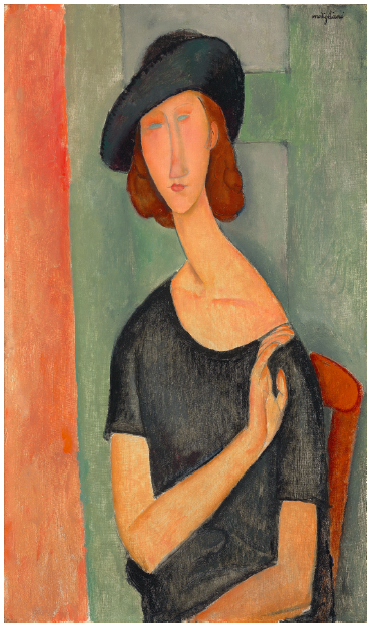 Christie's, Lot 16. Amedeo Modigliani (1884-1920) Jeanne Hébuterne (Au chapeau)  signed 'modigliani' (upper right)  oil on canvas: 36¼ x 21¼ in. (92 x 54 cm.)  Painted in 1919 Estimate: £16,000,000 - £22,000,000 ($25,376,000 - $34,892,000)