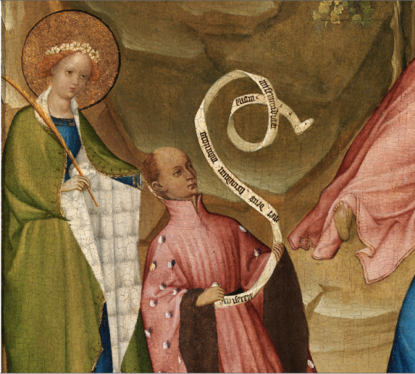 Post-restoration detail showing Saint Agnes and the donor holding a scroll with the opening words of the Psalm Miserere mei.