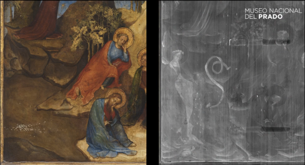 Left: Lower left corner of the painting pre-restoration. Right: Lower left corner of the painting with X-radiography showing overpainted images of donor and Saint Agnes.