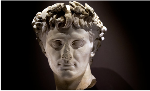A stone sculpture of the Roman emperor Augustus, who ruled at the time of Herod the Great – part of the Israel Museum exhibition. Photograph: Jim Hollander/EPA