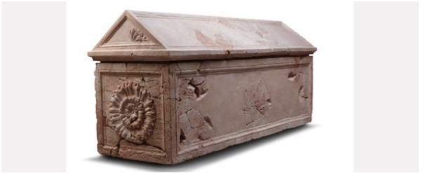 King Herod's sarcophagus (?) fashioned in red lime stone and decorated with rosettes and palmettes. Photo © the Israel museum, Jerusalem / by Meidad Suchowolski