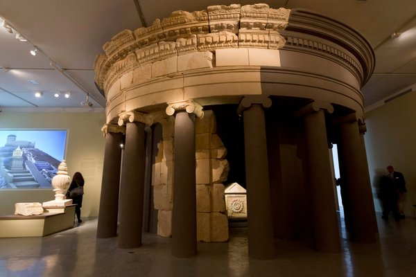 "The exhibition ""Herod the Great: The King's Final Journey"" includes a reconstruction of his tomb, with his sarcophagus, center. Jim Hollander/European Pressphoto Agency."