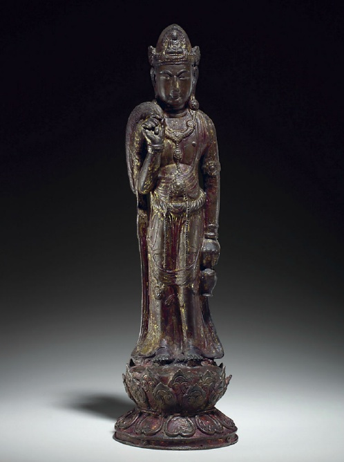Lot. 1191. A RARE GILT-LACQUERED BRONZE FIGURE OF GUANYIN DALI KINGDOM, YUNNAN, 10TH-13TH CENTURY  21 in. (53.3 cm.) high  Provenance Fong Chow (1923-2012) Collection, New York, acquired prior to 1965.  Estimate: $80,000-120,000