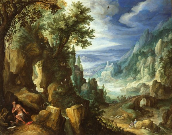 Paul Bril (1553/1554-1626), Mountainous landscape with St. Jerome, 1592. Oil on copper, 25,7 x32,8 cm