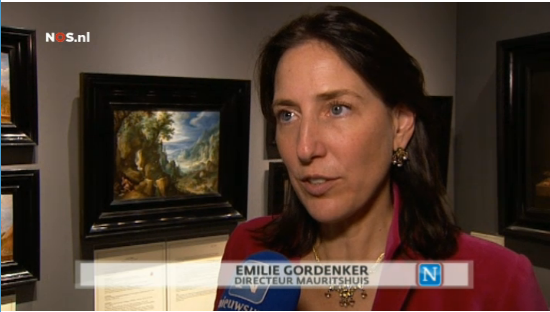 Mauritshuis director Emelie Gordenkker in a Dutch TV interview at Johnny van Haeften's booth at TEFAF.