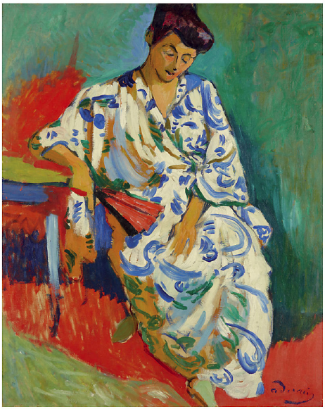 Lot 11. Andre Derain (1880-1954)  Madame Matisse au kimono  signed 'a derain' (lower right)  oil on canvas  31¾ x 25 5/8 in. (80.5 x 65 cm.)  Painted in Collioure, summer 1905  Estimate: $15,000,000 – $20,000,000