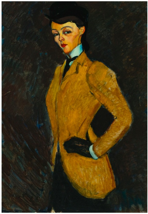 Lot 12. AMEDEO MODIGLIANI 1884 - 1920 L'AMAZONE Signed Modigliani (lower left) Oil on canvas: 36 1/4 by 25 3/4 in. 92 by 65.6 cm Painted in 1909. Estimate: $20-30 million.