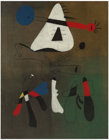 Lot 14. Joan Miro (1893-1983)  Peinture  signed 'Miró' (lower right); signed again and dated 'Joan Miró. 29.4.33.' (on the reverse) oil on canvas: 57¾ x 45 in. (146.5 x 114.3 cm.)  Painted on 29 April 1933  Estimate: $10,000,000 – $15,000,000