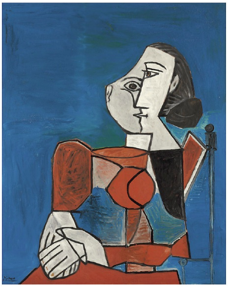 Lot 23. Pablo Picasso (1881-1973)  Femme assise en costume rouge sur fond bleu  signed 'Picasso' (lower left); inscribed and dated 'Vallauris 6.3.53' (on the reverse) oil on panel: 36 1/8 x 28 5/8 in. (91.9 x 72.9 cm.)  Painted in Vallauris, 6 March 1953  Estimate: $7-10 million.