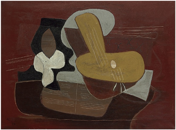 Lot 35. Pablo Picasso (1881-1973)  Mandoline et portée de musique  signed and dated 'Picasso 23' (lower left)  oil and sand on canvas: 38¼ x 51¼ in. (97 x 130 cm.)  Executed in 1923  Estimate: $8,000,000 – $12,000,000