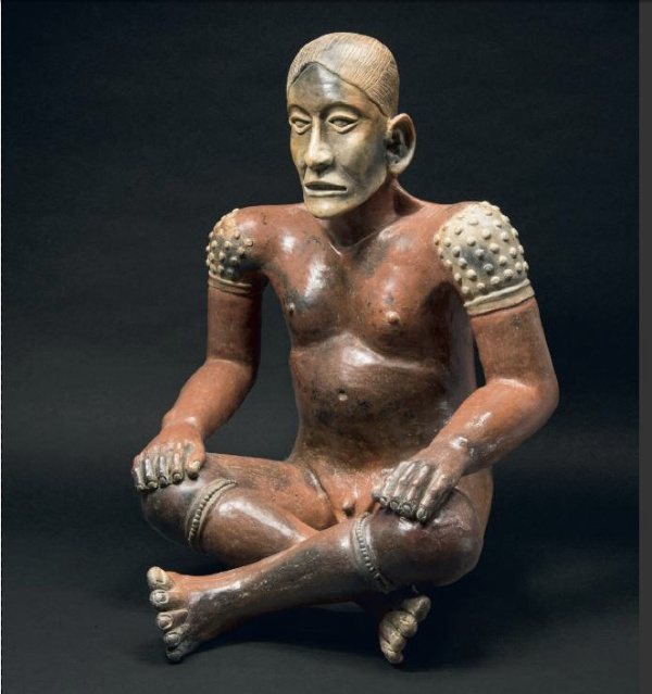 Lot 52. SEATED MALE FIGUREJalisco Culture, Western Mexico 100 B.C. - A.D. 250 Red, brown and beige ceramic H. 23 in - W. 16.9 in - D. 16.5 in Estimate: €350,000-380,000