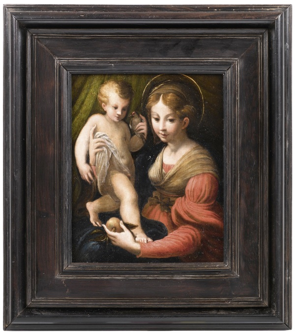 Lot 569. Circle of Girolamo Francesco Maria Mazzola, called Il Parmigianino(Parma 1503–1540 Casalmaggiore)  Madonna della Mela,  oil on panel, 16.5 x 13 cm, inlaid frame Estimate: 80,000-120,000.