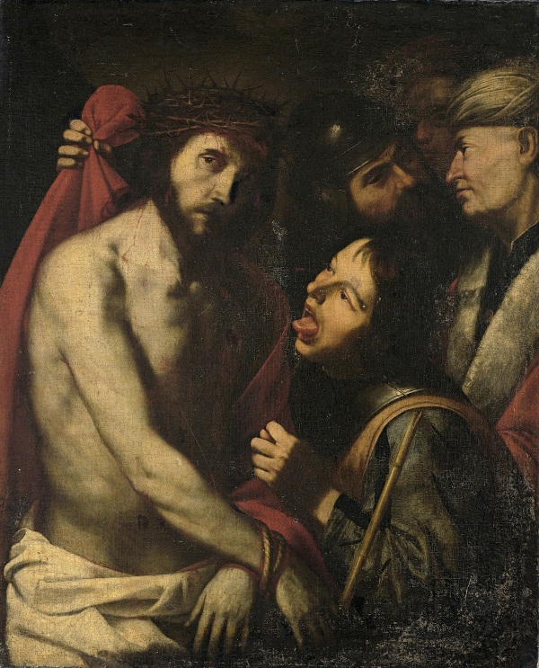 "Lot 602. Jusepe de Ribera(Jativa 1591–1652 Naples)  The Mocking of Christ,  oil on canvas, 106.2 x 86.8 cm, framed  Inscribed on the back of the canvas with the number ""813"" and inscribed on the stretcher with the number ""n 699"".  Estimate: 300,000-500,000."