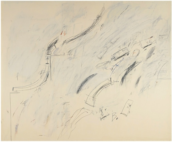 Lot 13. CY TWOMBLY 1928 - 2011 UNTITLED (BOLSENA) signed, inscribed Bolsena and dated 1969 on the reverse oil based house paint, lead pencil and wax crayon on canvas 78 3/4 by 94 1/2 in. 200 by 240 cm. Estimate: $10-15 million.