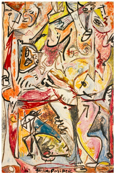 Lot 27. JACKSON POLLOCK 1912 - 1956 THE BLUE UNCONSCIOUS signed and dated 46 oil on canvas 84 x 56 in. 213.4 x 142.1 cm. Estimate: $20-30 million.