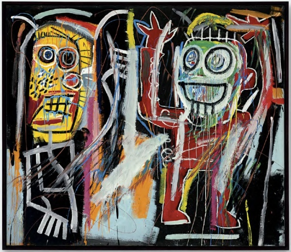 Lot 10. Jean-Michel Basquiat (1960-1988)  Dustheads  signed, titled and dated 'DUSTHEADS Jean-Michel Basquiat 82' (on the reverse) acrylic, oilstick, spray enamel and metallic paint on canvas  72 x 84 in. (182.8 x 213.3 cm.)  Painted in 1982.  Estimate: $25-35 million.