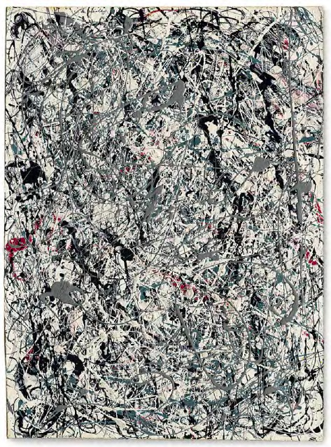 Lot 18. Jackson Pollock (1912-1956)  Number 19, 1948  signed and dated 'Jackson Pollock 48' (upper left)  oil and enamel on paper mounted on canvas  30 7/8 x 22 5/8 in. (78.4 x 57.4 cm.)  Painted in 1948.  Estimate: $25-35 million.