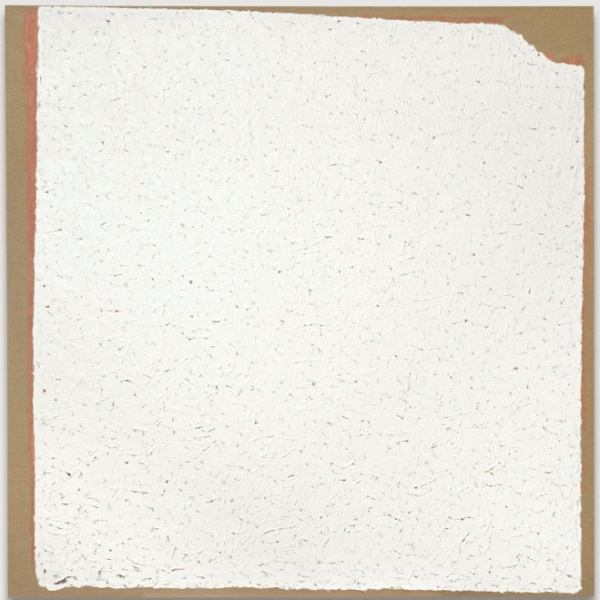 Lot 11. ROBERT RYMAN B.1930 CONVENTION signed, titled and dated '02 on the overlap oil on canvas 72 x 72 in. 182.9 x 182.9 cm Estimate: $3.5-4.5 million.