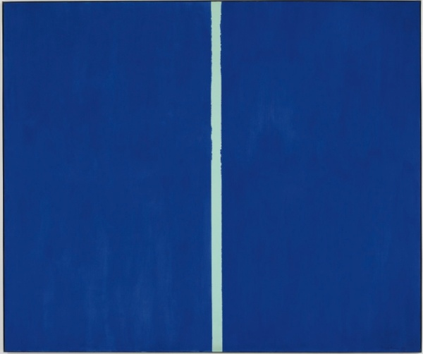 Lot 17. BARNETT NEWMAN 1905 - 1970 ONEMENT VI signed and dated 1953 in dark blue paint on lower right corner oil on canvas 102 x 120 in. 259.1 x 304.8 cm Estimate; $30-40 million.