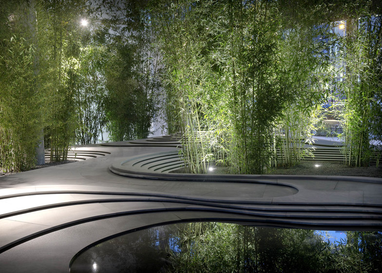 bamboo trees sprouted up around a topographical landscape of stone and water at this installation created - Bamboo Garden