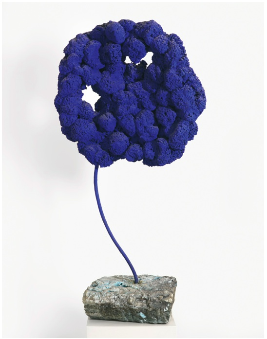 Lot 12. YVES KLEIN 1928 - 1962 SCULPTURE ÉPONGE BLEUE SANS TITRE, SE 168 dry blue pigment in synthetic resin on natural sponges, metal stem and stone base height: 44 3/8 in. 112.7 cm. Executed in 1959. Estimate upon Request (approximately $20 million).