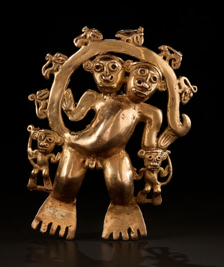 Lot 54277. A LARGE QUIMBAYA GOLD PENDANT REPRESENTING A COMPOSITE HUMAN/ANIMAL CREATURE WITH TWO HEADS c. 1200 - 1400 AD His long tail forms an arch over his head. Six monkeys climb on the arch. Two small composite creatures cling to the waist of the main character. Weight: 159 grams. Height: 5 inches. Estimate: $25,000 - $35,000.