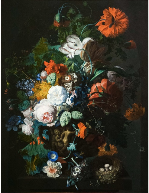 Jan van Huysum, Still Life of Roses, Tulips, Peonies and other Flowers in a Sculpted Vase and a Bird's Nest on a Ledge, about 1718. Scottish National Gallery. Oil on copper. Photo © Chris Watt.
