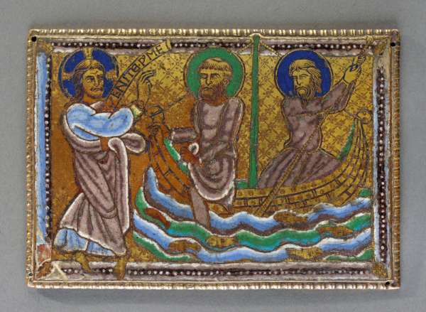Exceptional copper plaque with champlevé enamel, engraved and gilded, representing the Vocation of Peter and Andrew. Dark blue, mid-blue, light blue, white, mauve, dark purple, mid-green, light green, yellow enamel. Rectangular plaque with embossed edges and fixation holes in the corners. The scene shows the moment when Jesus catches sight of the brothers Peter and Andrew throwing their nets in their boat on Lake Tiberias. He calls to them asking them to join him (Matthew IV, 18-20; Mark 1, 16). On the left Christ is standing, in a dancing position, his legs crossed, his right arm raised as if in blessing, his feet running over onto the frame; a banner in front of his face carries the inscription VENITE.P(ost) ME ET FACIAM VOS FIERI PISCATORES HOMINUM («?Follow Me, and I will make you fishers of men.?»). The rest of the composition is made up of the two brothers in their boat, under-sized in comparison to the figures, who are turning their heads towards Christ. Peter, recognisable by his baldness, puts his right leg over the side of the boat, taking in one hand a panel of his robe and holding the bow in the other; Andrew seems to arch his back, both hands pulling on the string of the net; in the stylised, figurative waves there are half a dozen fish. The slats of wood which form the hull of the boat are decorated with indentations whereas the bottom of the boat is engraved with diamond-shaped netting, each intersection highlighted by small flowers. All around, the frame consists of three coloured stripes, one of which is beaded, with, at each corner, an engraved oak leaf. England, around 1170-1180 H. 8,6 cm - L. 12.4cm (some enamel missing on two frame corners, some of the gilding is worn away) Origin: private collection Lyon