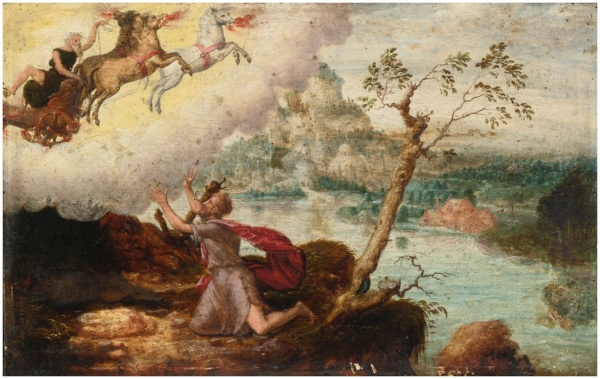 Lot 1. HERRI MET DE BLES BOUVINES CIRCA 1510 - AFTER 1550 ANTWERP (?) ELIJAH ASCENDING TO HEAVEN IN THE FIERY CHARIOT signed with the artist's device of an owl at the base of the tree at center oil on panel 7 1/4  by 11 1/2  in.; 18.4 by 29.2 cm. Estimate: $20,000 - 30,000. (Click on image t enlarge)