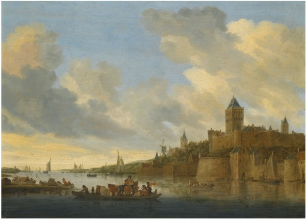 Lot 15. SALOMON VAN RUYSDAEL NAARDEN 1600/3 - 1670 HAARLEM A VIEW OF THE VALKHOF AT NIJMEGEN SEEN FROM THE WEST, WITH A FERRY CROSSING THE RIVER WAAL signed in monogram and dated on the ferry lower centre:  SvR. 1647 oil on oak panel 64.5 by 89.4 cm.; 25 3/8  by 35 in. Estimate: 1-1.5 million. Click on image to enlarge.