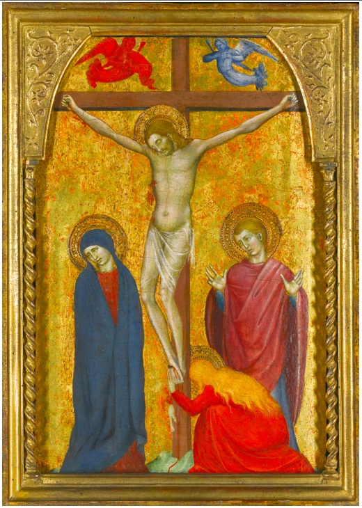 Lot 16. GIOVANNI DA MILANO ACTIVE IN FLORENCE AND SIENA CIRCA 1346-1369 THE CRUCIFIXION tempera on panel, gold ground, with leaves from an Italian 15th-century choirbook on vellum attached to the reverse 47 by 32.8 cm.; 18 1/2  by 13 in. Estimate: 250,000-350,000.