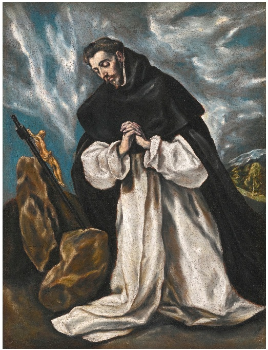 Lot 19. DOMENIKOS THEOTOKOPOULOS, CALLED EL GRECO CANDIA (HERAKLEION), CRETE CIRCA 1541 - 1614 TOLEDO SAINT DOMINIC IN PRAYER indistinctly signed lower left: domén. ...kopol....  oil on canvas 75 by 58 cm.; 29 1/2  by 22 7/8  in. Estimate: 3-5 million.