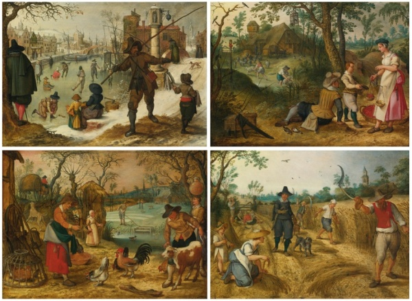 Lot 28. SEBASTIAEN VRANCX ANTWERP 1573 - 1647 ALLEGORIES OF THE SEASONS Quantity: 4 a set of four, all oil on panel each: 10 5/8  by 14 3/4  in.; 27 by 37.5 cm. Estimate: $300,000 - 500,000. (Click on image to enlarge)