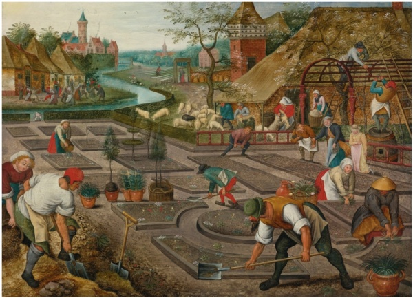 Lot 29. PIETER BRUEGHEL THE YOUNGER BRUSSELS 1564 - 1637/8 ANTWERP SPRING signed lower left: P. BRE [VGHEL with strengthening] oil on panel 16 1/2  by 22 1/2  in.; 41.9 by 57.2 cm. Estimate: $700,000 - 900,000. (Click on image to enlarge)