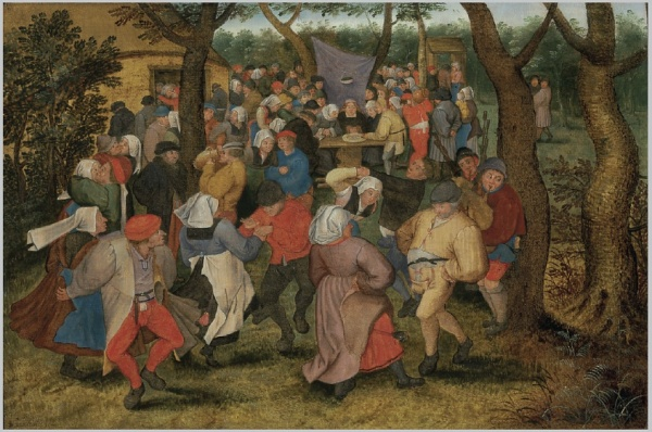 Lot 33. Pieter Brueghel II (Brussels 1564/5-1637/38 Antwerp)  The Wedding Dance  signed and dated 'P.BREVGHEL.1610.' (lower left)  oil on panel  15 x 22½ in. (38.1 x 57.2 cm.)  Estimate: $2-3 million