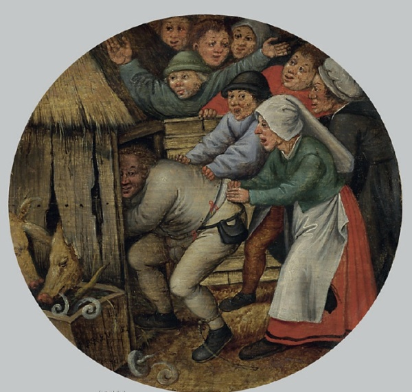 Lot 34. Pieter Brueghel II (Brussels 1564/5-1637/38 Antwerp)  The Drunkard pushed into the Pigsty  signed 'PBREV**EL' (lower left, on the trough)  oil on panel, circular  7 in. (17.8 cm.) diameter  Estimate: $500,000-700,000.