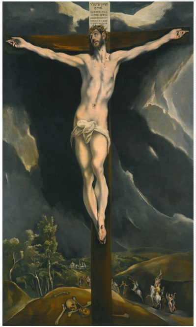 Lot 34. DOMENIKOS THEOTOKOPOULOS, CALLED EL GRECO CANDIA (HERAKLEION), CRETE CIRCA 1541 - 1614 TOLEDO CHRIST ON THE CROSS oil on canvas 177 by 105 cm.; 69 ¾ by 41 ¼ in. Estimate: 3-5 million.