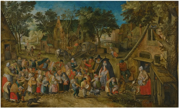 Lot 36. PIETER BRUEGHEL THE YOUNGER BRUSSELS 1564 - 1637/8 ANTWERP THE WHITSUN BRIDE  oil on panel 18 1/8  by 29 5/8  in.; 46.3 by 75.4 cm.  Estimate: $400,000 - 600,000. (Click on image to enlarge)