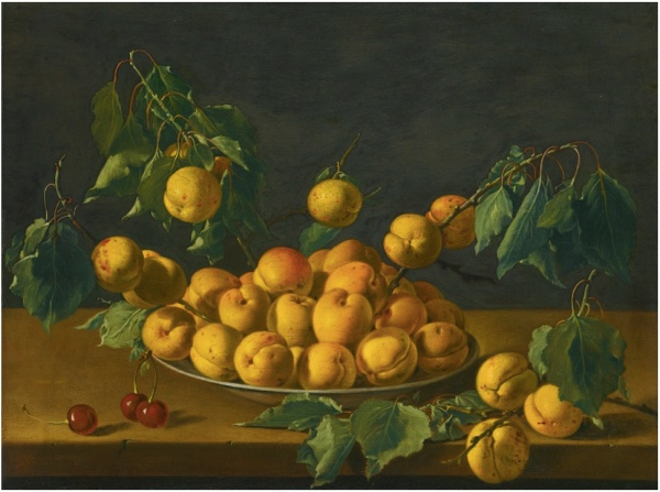 Lot 36. LUIS MELÉNDEZ NAPLES 1716 - 1780 MADRID STILL LIFE WITH APRICOTS AND CHERRIES oil on canvas 38 by 49.6 cm.; 15 by 19 1/2  in. Estimate: 1-1.5 million. Click on image to enlarge.