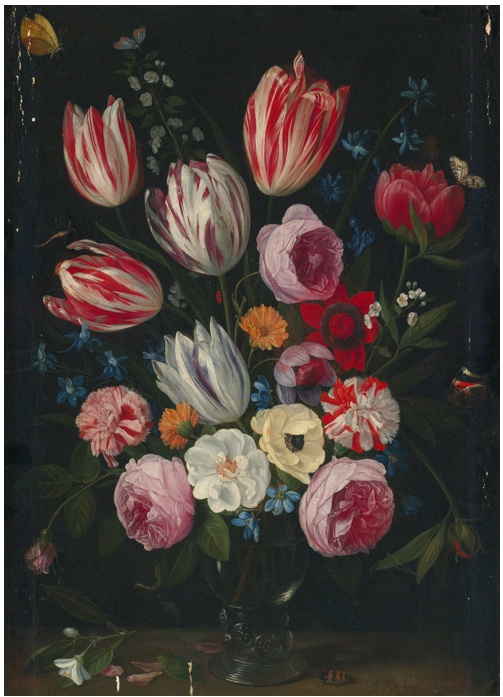 Lot 39. JAN VAN KESSEL THE ELDER ANTWERP 1626 - 1679 TULIPS, ROSES, PEONIES AND OTHER FLOWERS IN A ROEMER  Signed lower right:  J. V. Kessel. f  – oil on panel 20 3/8  by 14 5/8  in.  ; 51.9 by 37 cm. (including old additions of 2.5 cm. each at left and right) Estimate: $200,000 - 300,000. (Click on image to enlarge)