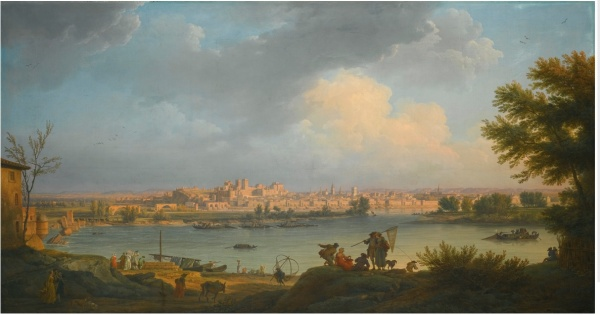 Lot 39. CLAUDE-JOSEPH VERNET AVIGNON 1714 - 1789 PARIS A VIEW OF AVIGNON, FROM THE RIGHT BANK OF THE RHÔNE NEAR VILLENEUVE signed and dated lower left: Joseph Vernet f/ 1757 oil on canvas 99 by 182.7 cm.; 39 by 72 in. Estimate: 3-5 million. Click on image to enlarge.