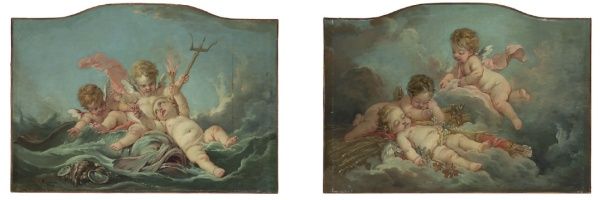 Lot 40. François Boucher (Paris 1703-1770)  An Allegory of Water; and An Allegory of Earth  the first signed and dated 'f·Boucher 1753' (lower left)  oil on canvas, shaped top  each 40½ x 56¾ in. (102.8 x 144.1 cm.) (2) Estimate: $300,000-500,000.