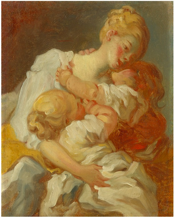 Lot 73. JEAN-HONORÉ FRAGONARD GRASSE 1732 - 1806 PARIS 'LES BAISERS MATERNELS' OR 'LES JALOUSIES DE L'ENFANCE' oil on canvas 10 3/4  by 8 3/4  in.; 27.3 by 22.2 cm. Estimate: $300,000 - 400,000. (Click on image to enlarge)