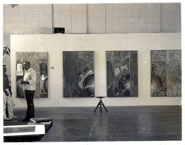 Jasper Johns and James Meyer in the studio. Photo by Hans Namuth. according to James Meyer, the photo was taken in Johns' Houston Street studio, the old Provident Loan Society lobby. (image used by permission of Flickr user Roberta Fallon; image originally appeared in a story on The Artblog by Matthew Rose)