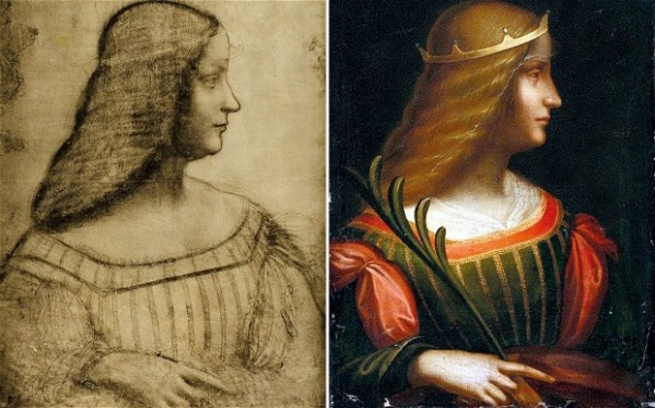 The painting appears to be a completed, painted version of a pencil sketch drawn by Leonardo da Vinci in Mantua in the Lombardy region of northern Italy in 1499.