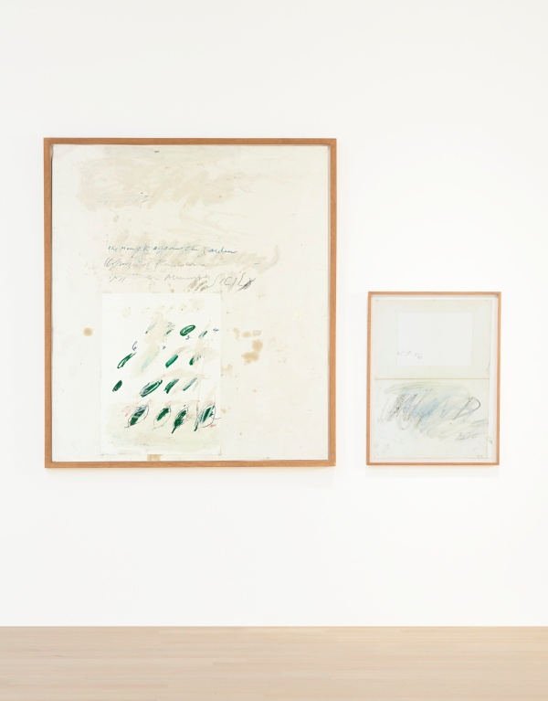 Lot 18. CY TWOMBLY, 1928 - 2011, UNTITLED signed with initials and dated 76 on the right sheet collage, oil and wax crayon, pencil and tape on paper, in two parts left: 59 7/8 x 52 3/8 in. right: 32 1/4 x 24 3/8 in. left: 152 x 133 cm. right: 82 x 62 cm. Estimate: $650,000-850,000.