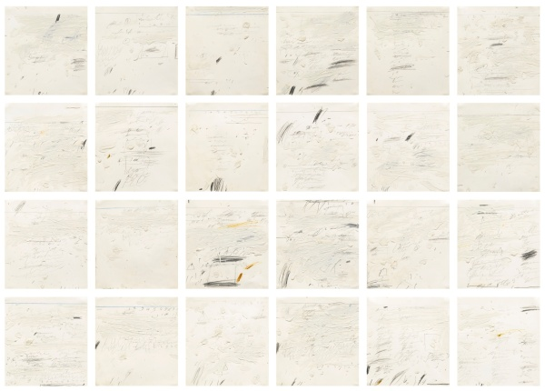 Lot 20. CY TWOMBLY, 1928 - 2011, POEMS TO THE SEA (i), (vii) and (xxiv) signed and dated Sperlonga July 1959 on the reverse oil-based house paint, pencil and wax crayon on paper, in twenty-four parts each: dimensions variable: 12 x 12 1/8 in. to 13 5/8 x 12 1/8 in. 30.3 x 31 cm. to 34.6 x 31 cm. Estimate: $6-8 million