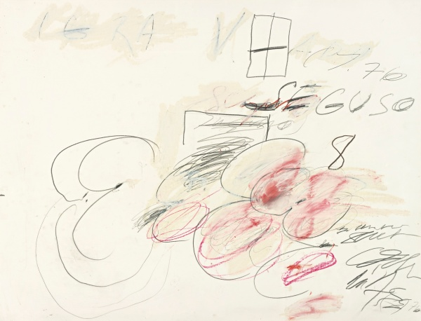 Lot 23. CY TWOMBLY, 1928 - 2011, SEGUSO signed with initials, titled and dated 76 twice watercolor, crayon and pencil on paper  40 3/4 x 52 1/2 in. 103.5 x 133.4 cm. Estimate: $600,000-800,000.