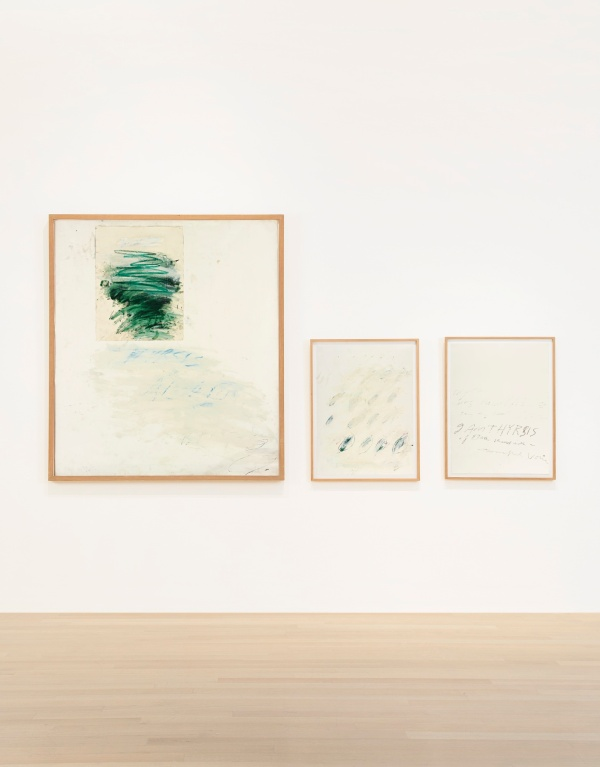 Lot 32. CY TWOMBLY, 1928 - 2011, IDILLI signed with initials and dated 7 Aug 76 on left sheet, titled on right sheet collage, oil and wax crayon, pencil and tape on paper, in three parts left: 58 1/2 x 51 5/8 in. 155.5 x 137.5 cm. center: 29 7/8 x 22 1/4 in. 75.9 x 56.5 cm. right: 29 3/4 x 22 1/4 in. 75.6 x 56.5 cm. Estimate: $1.5-2 million.
